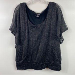🌸 Lane Bryant Black Shimmery Top Plus Size 18/20
